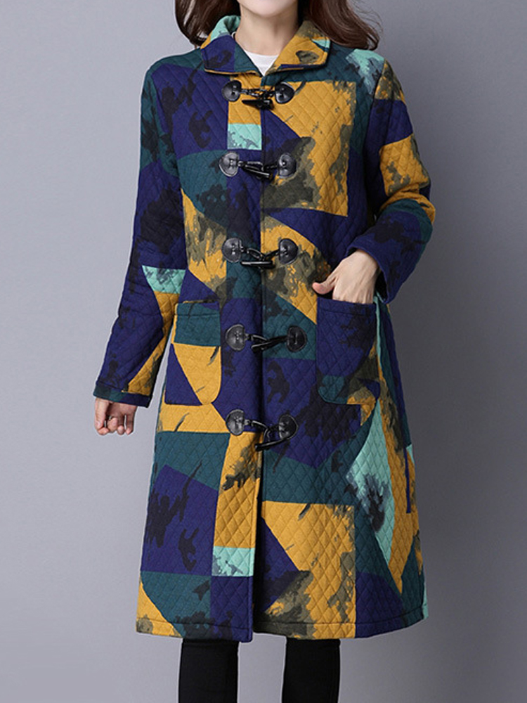 Elegant Printing Horns Deduction Long Sleeve Thick Women Coat