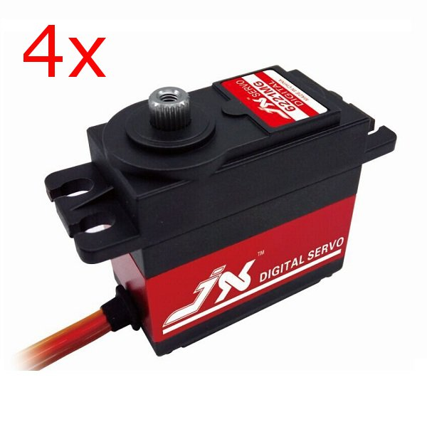 4X JX PDI-6221MG 20KG Large Torque Digital Standard Servo For RC Model superior hobby jx pdi hv5212mg high precision metal gear full cnc aluminium shell high voltage digital coreless short servo
