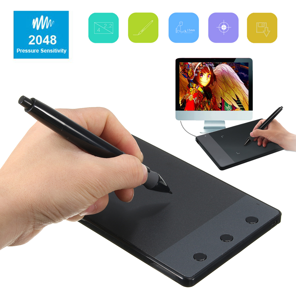 huion h420 4 x usb art design graphics tablet drawing pad with digital pen. Black Bedroom Furniture Sets. Home Design Ideas