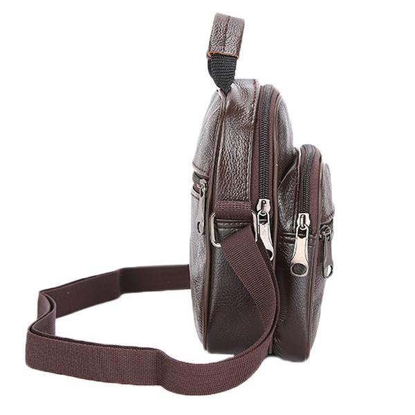 Multifunctional Casual Men Genuine Lether Crossbody Bag Portable Handbag