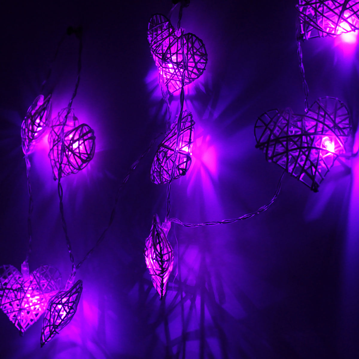 Rattan Hearts String Lights : 10 LED Rattan Heart String Fairy Lights Lamp Party Home Bedroom Xmas Wedding Decor Alex NLD