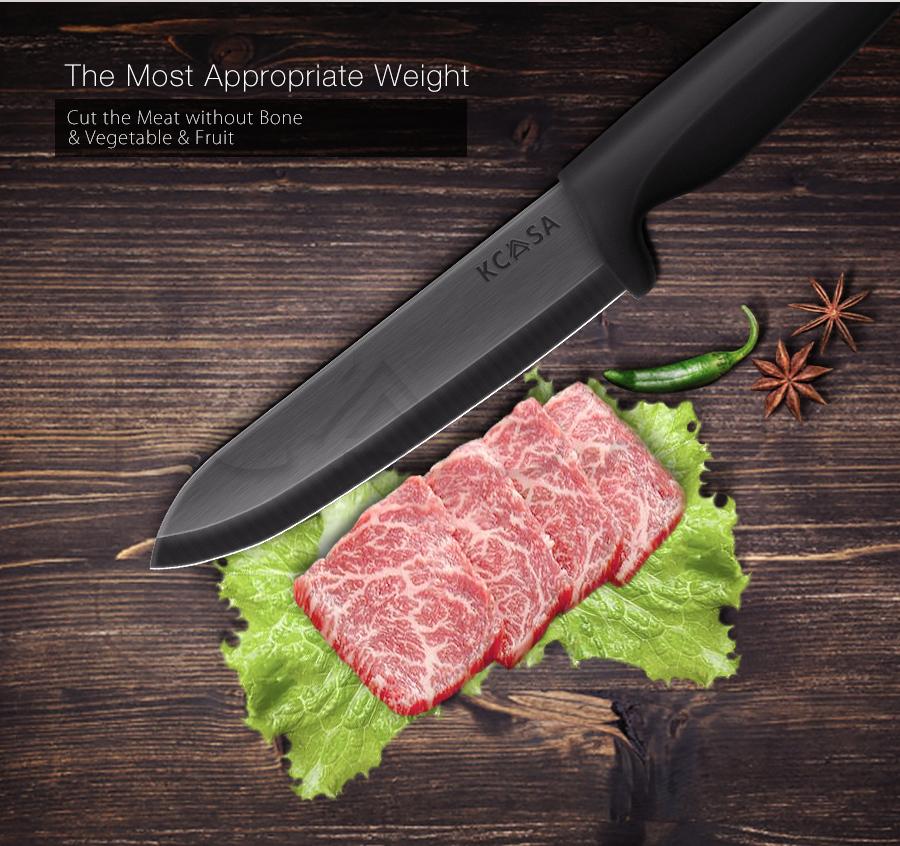 KCASA KC-Kf6 5 шт черный клинок Керамический нож Набор с держателем Многофункциональный Овощечистка Slicer Chef