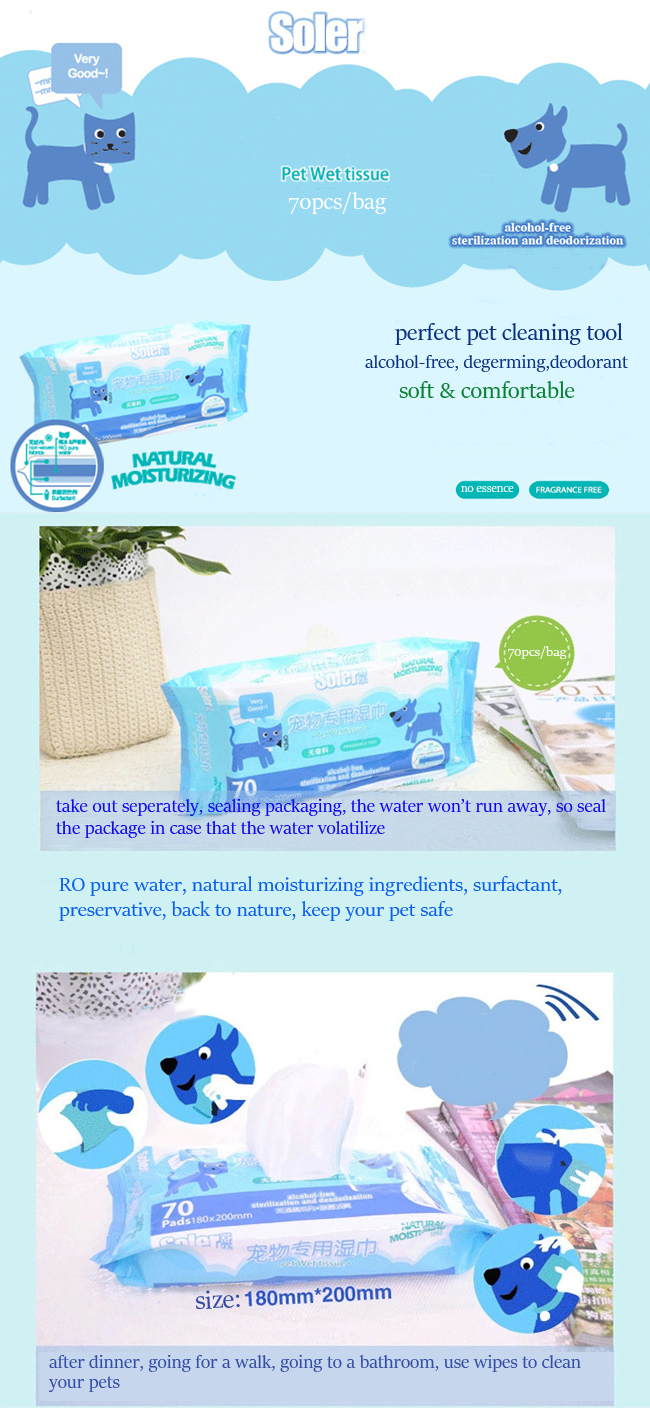 Soler Pet Dog Cat Wet Tissue Wipes Alcohol Free Degerming Disinfection Wipes Cleaning Grooming Tool