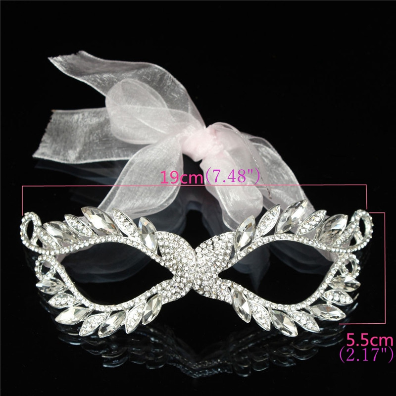 European White Ribbon Rhinestone Lady Women Masquerade Mask