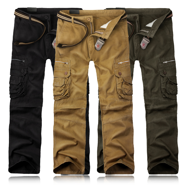 Mens Casual Cargo Pants Solid Color Stylish Pockets Decorated Long ...