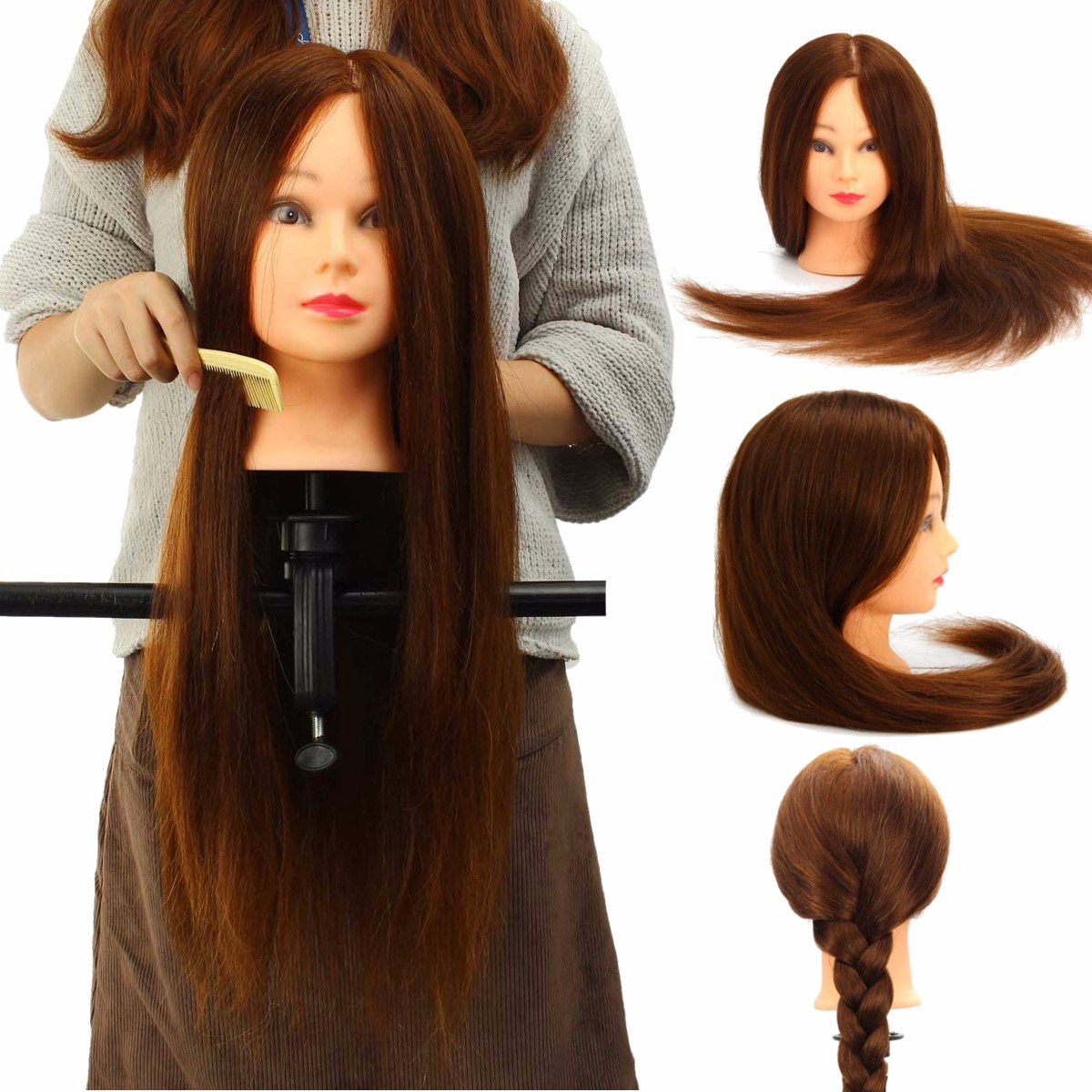 100% Real Human Hair Mannequin Head Salon Hairdressing Training Model Clamp Holder цена 2017