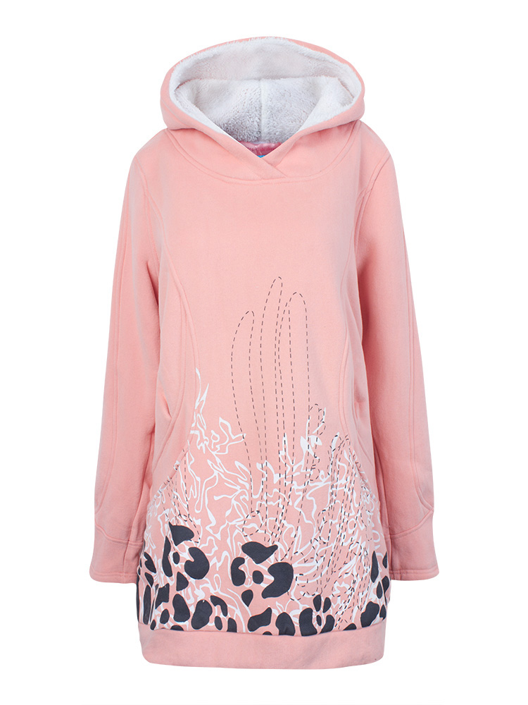 Pink Pocket Long Loose Hood Sweatshirt