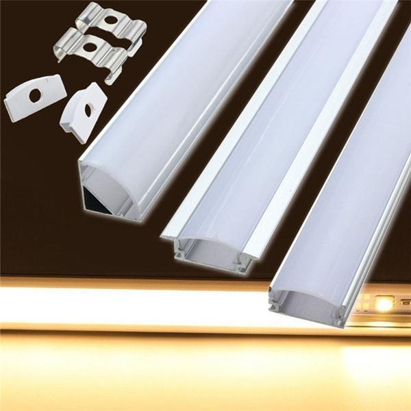 Titular de canal de 50 cm de aluminio para LED tira de la barra ligera debajo de la lámpara del gabinete