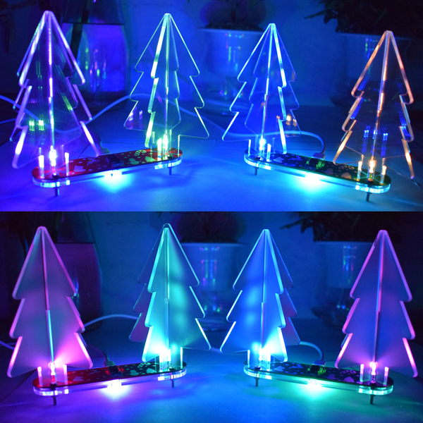 Geekcreit® DIY Full Color Changing LED Acrylic 3D Christmas Tree Electronic Learning Kit 33