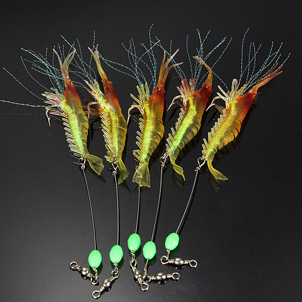 цены 5pcs 7cm 7g Noctilucent Soft Prawn Shrimp Fishing Lure Bait