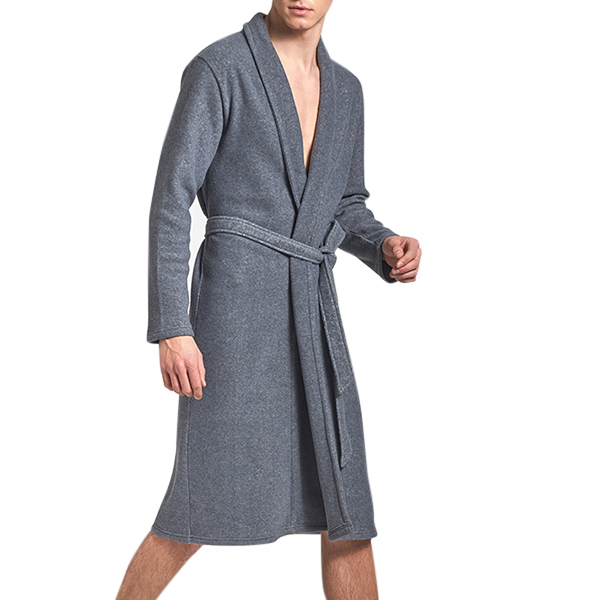 Mens Fleece Home Solid Color Spring Autumn Warm Long Sleeve Sleepwear Knee Length Robe