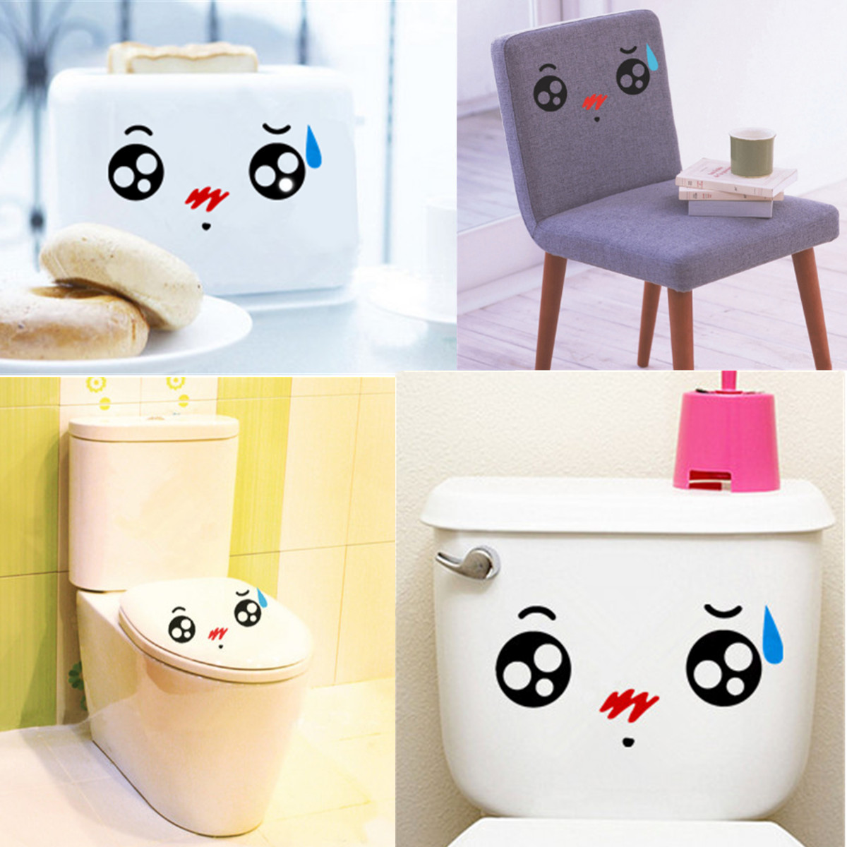 Bathroom accessories cartoon cute expression waterproof for Cute bath accessories