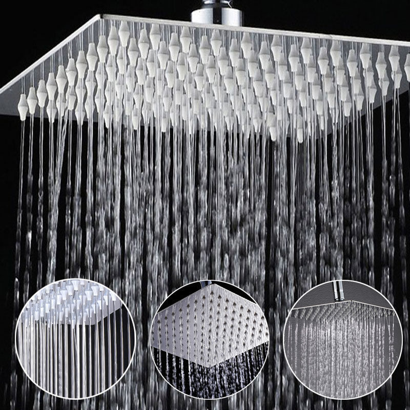 8 Inch Stainless Steel Bathroom Square Silver Pressurize Rainfall Shower Head Chrome Finish ydl bd005 1 16 temperature control 24 led rgb light 304 stainless steel square shower head silver