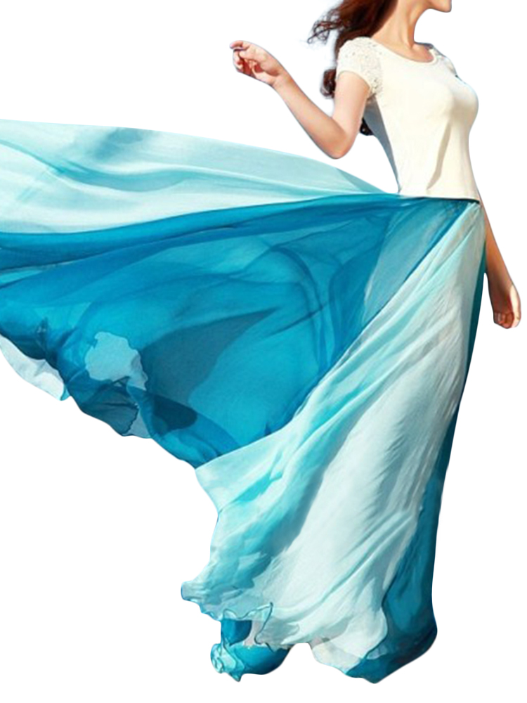 Bohemian Chiffon Contrast Color Patchwork Elastic Waist Pleated Maxi Skirts For Women