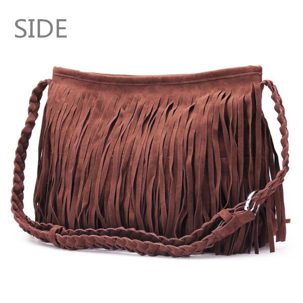 Fashion Women Pure Color Tassel Shoulder Bag Crossbody Bag