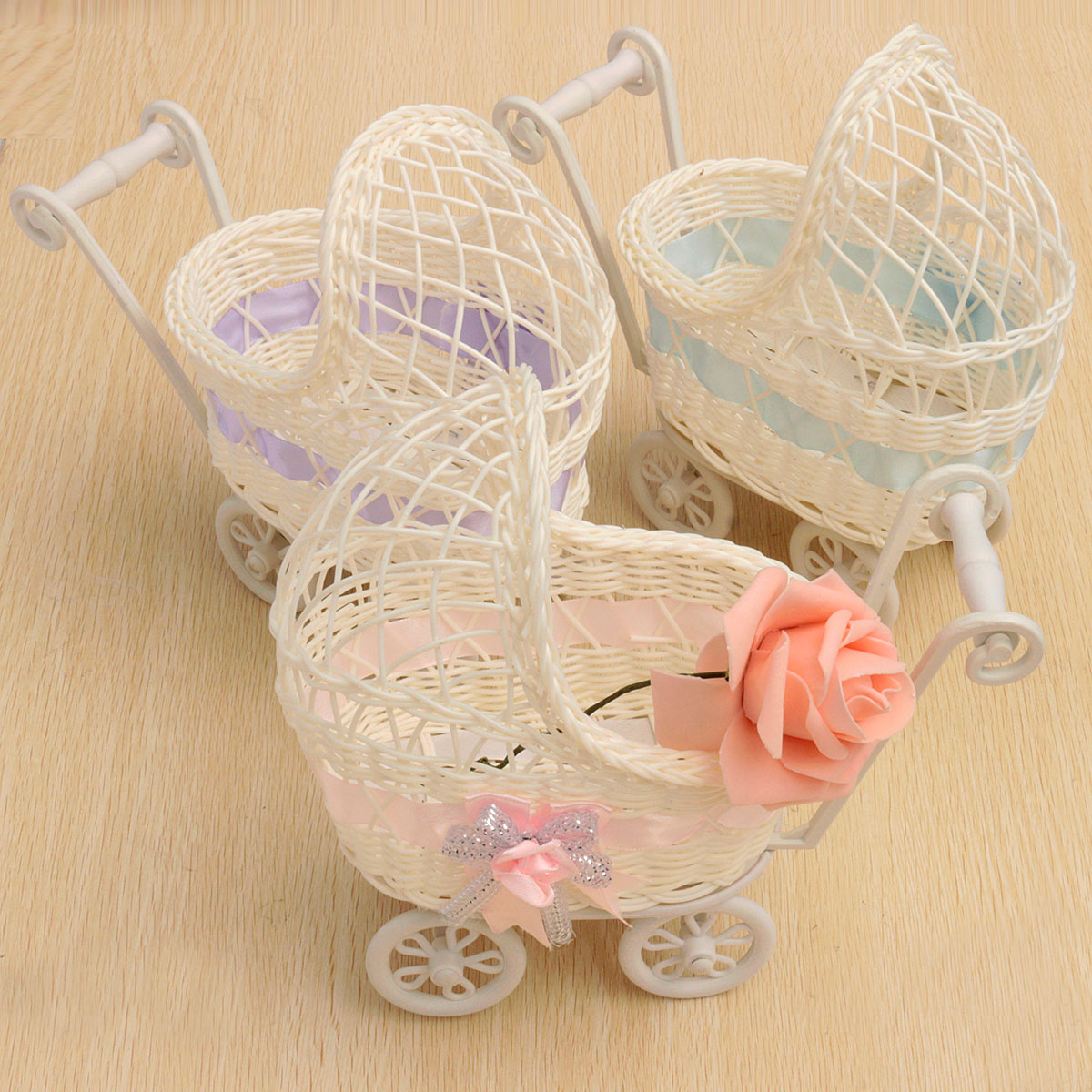 Buy Flower Basket Wicker Pram Baby Shower Party Gift Present Organizer Home Table Decor