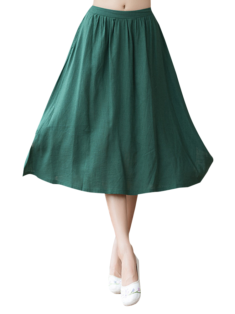 Casual Pure Color Elastic Waist Loose Hem Skirts for Women