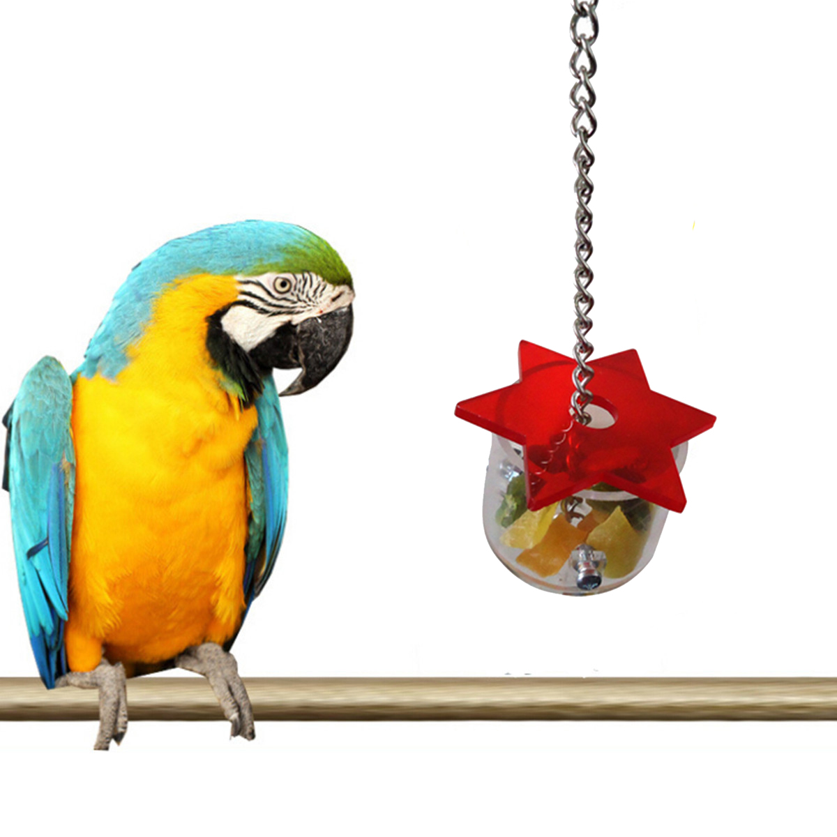 Bird Feeding Box Parrot Pet Bird Hex Star Acrylic Foraging Feeder Box Hanging Cage Swing Chew Toys