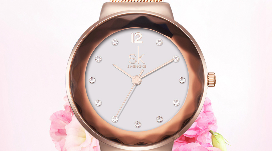 SK K0038L Moden Design Dial Case Stain Ladies Wrist Watch