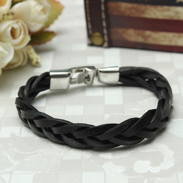 Braided Men Leather Bracelet, Stainless Steel Cuff Bracelet