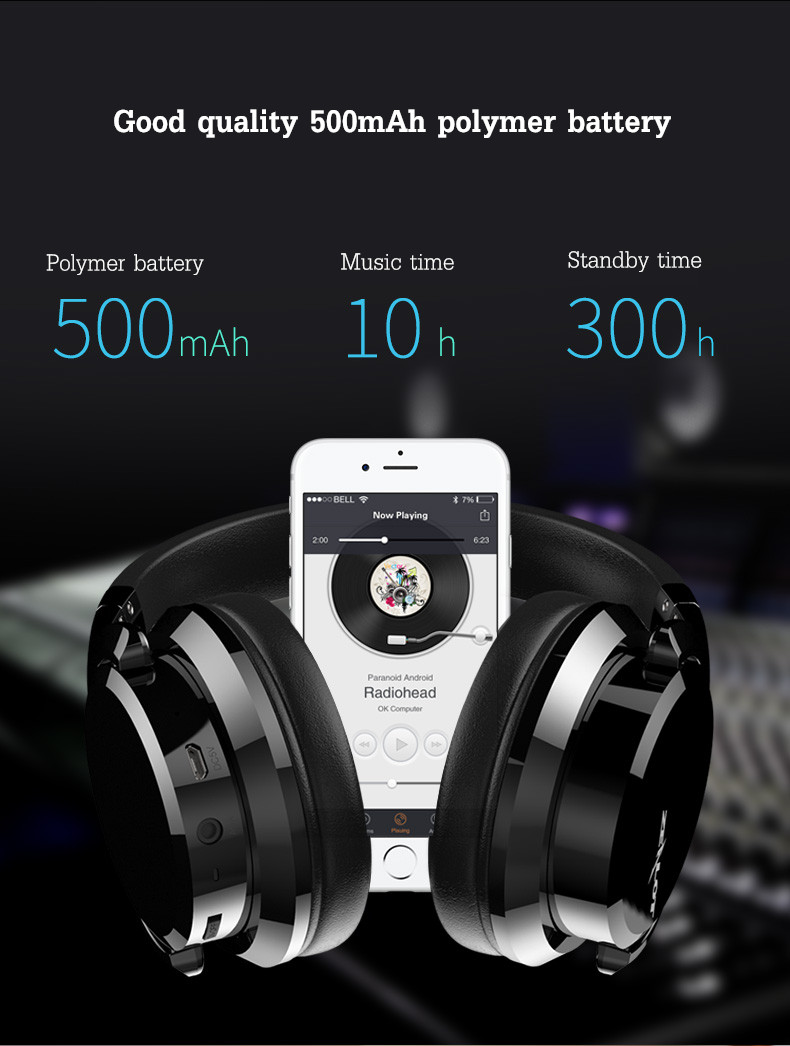 ZEALOT B21 Foldable Slide Touch Button HiFi Stereo AUX Wireless Bluetooth Headphone Headset With Mic