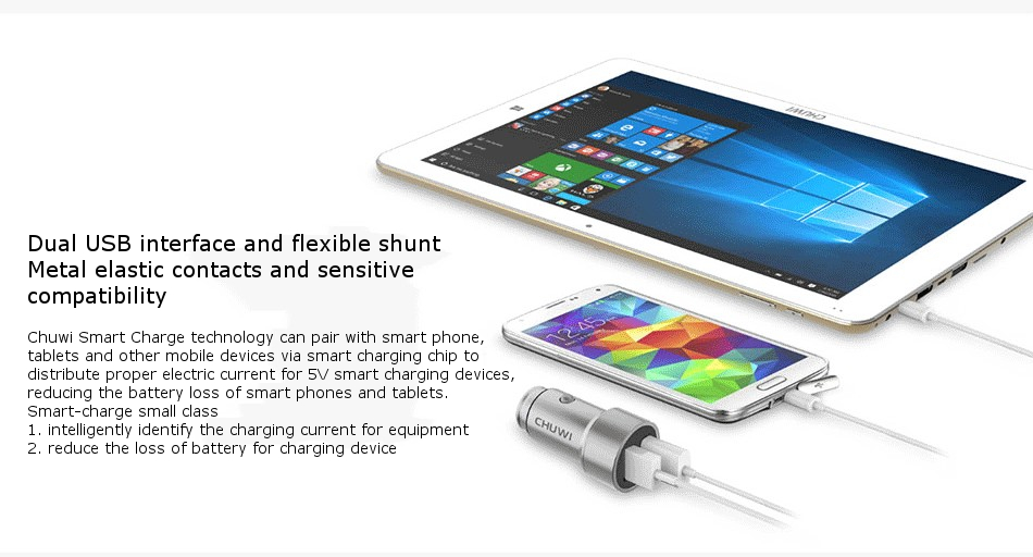 CHUWI C-100 Smart Car Charger 5V/2.4A Dual USB Fast Charge With LED Light For Smartphone Tablet