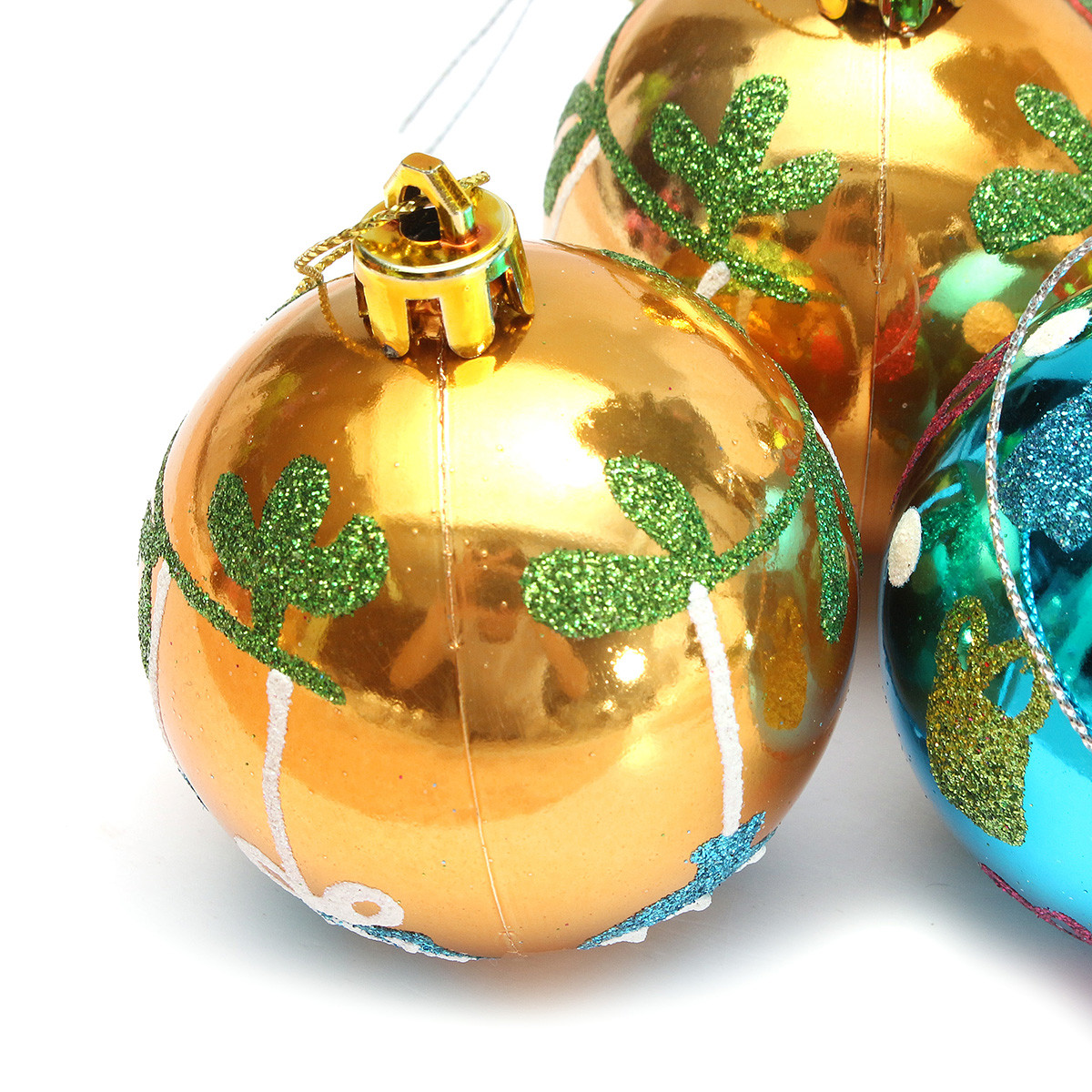 Plastic Christmas Baubles Handmade Painted Ball Tree