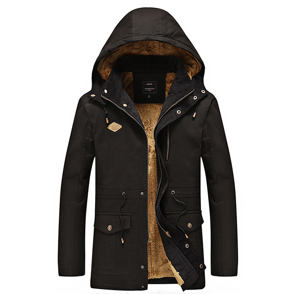 Winter Thick Warm Fleece Hooded Parkas Jackets for Men