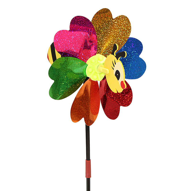 DIY Windmill Kit Bee LadyBug Random Insect Pattern Wind Spinner Whirligig Toy Lawn Yard Camp Decor - Photo: 4