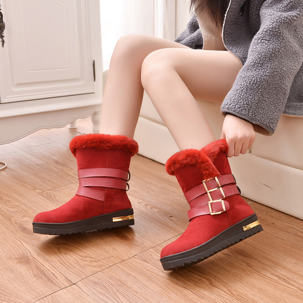Women Wにter Plush Cotにn Boots Cとしてual Outdoまたは Keep Warm Comためにtable Flats 靴
