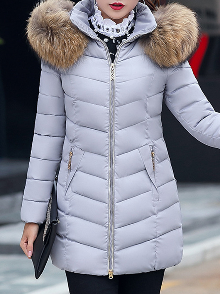Casual Loose Pure Color Faux Fur Hooded Women Down Coats