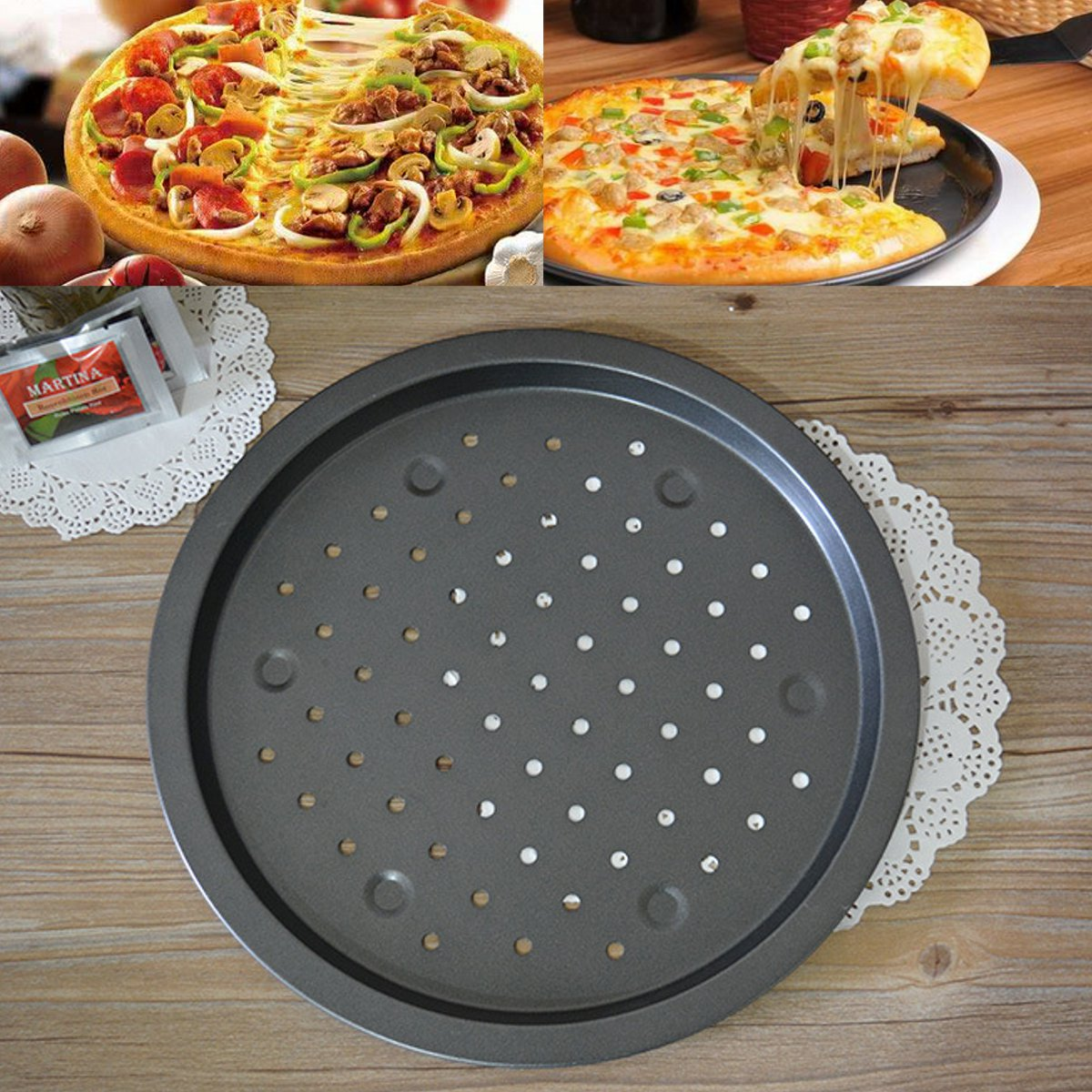 14'' Round Non Stick Carbon Steel Pizza Oven Baking Pans Cake Pie Dish Mold Tray