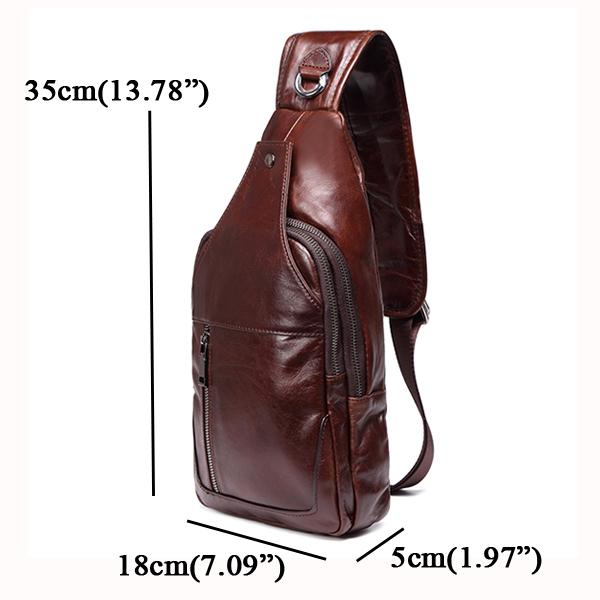 Business Men Genuine Leather Chest Bag Shoulder Bags Crossbody Bags - visiocology.com - Men