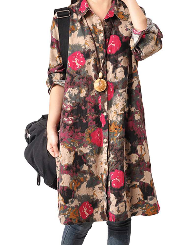 Folk Style Loose Women Lapel Button Floral Printed Cotton Linen Dress the folk and old slavic motifs in the 17th century folk bible
