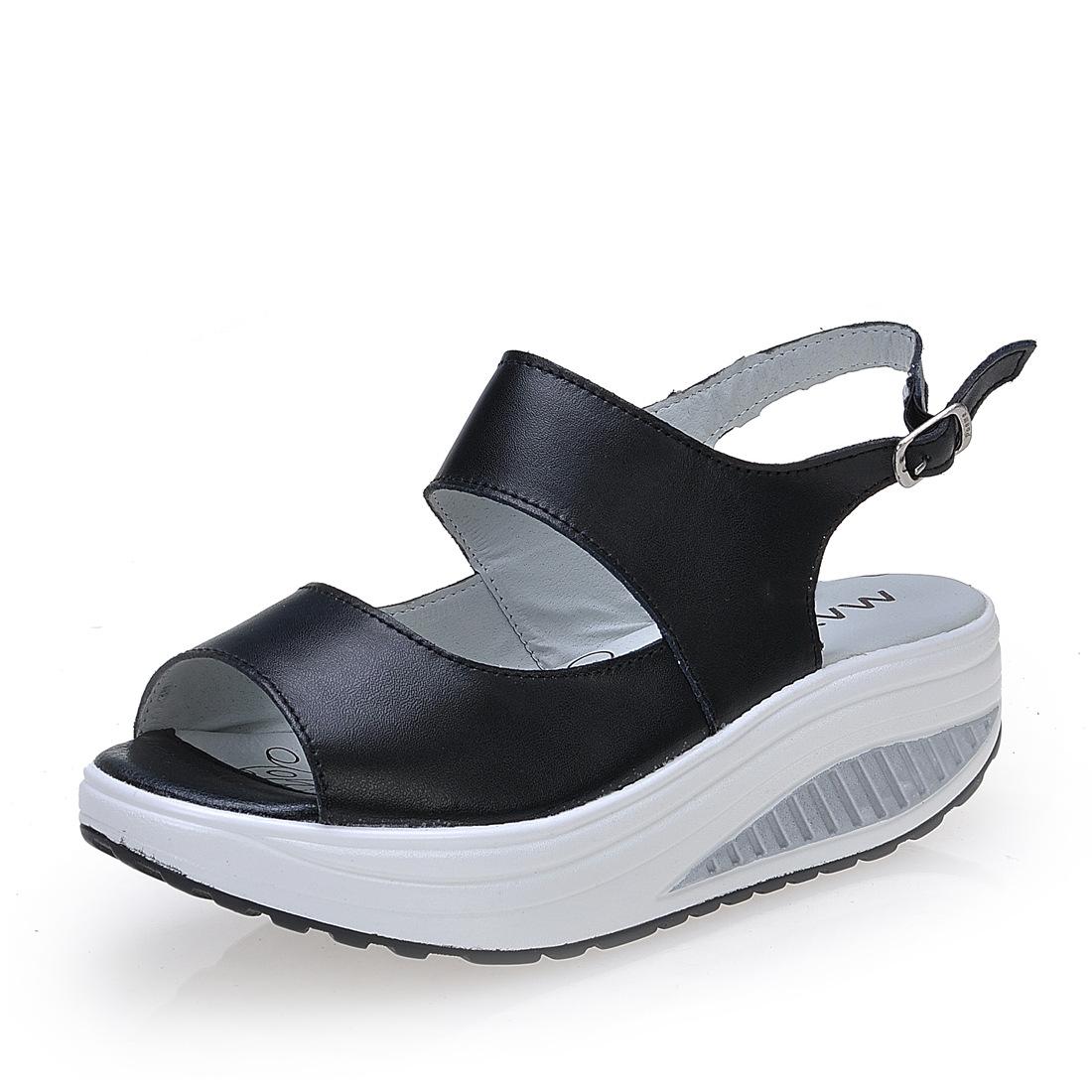 Leather Buckle Wedge Sandals Comfortable Shake Peep Toe Platform Sandals