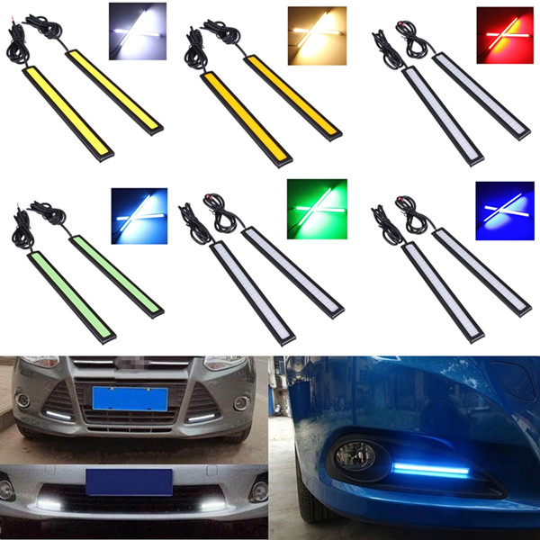 2x 12V LED COB Auto Car Driving Daytime Running Light DRL Fog Lamp led drl daytime running light fog lamp for volkswagen vw tiguan 2013 14 yellow turn signal dimmer function wireless control