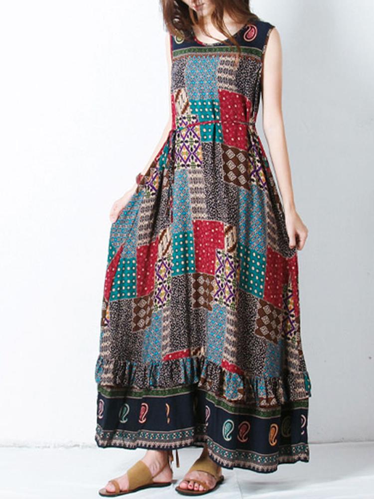 Bohemian Women Sleeveless O-Neck Printed Maxi Tank Dress