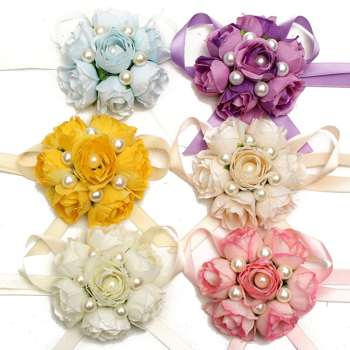 Wedding Corsage: Bridemaid Silk Rose Flower Pearl Bracelet Wrist Corsage