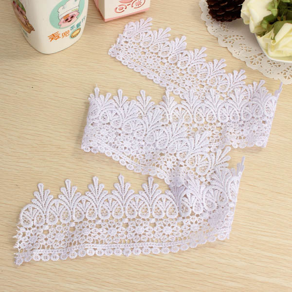 1 Yard White Polyester Embroidery Lace Trim DIY Sewing Needlework Accessories