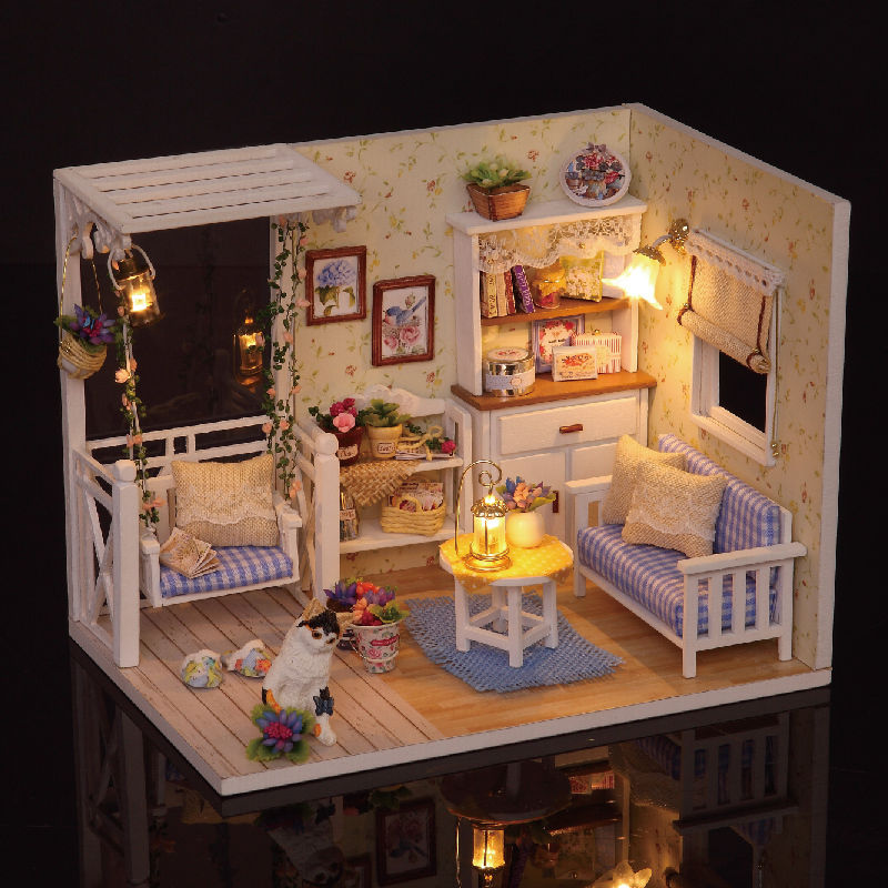 Cuteroom Dollhouse Miniature DIY Kit With Cover Wood Toy Doll House Room Kitten Diary pu leather coin purse women small wallet change purses money bags children s pocket wallets key holder mini zipper pouch