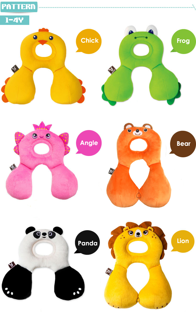1-4Y Baby Lovely Animal Pillow Child Car Seat Nursing U Headrest Neck Back Protection