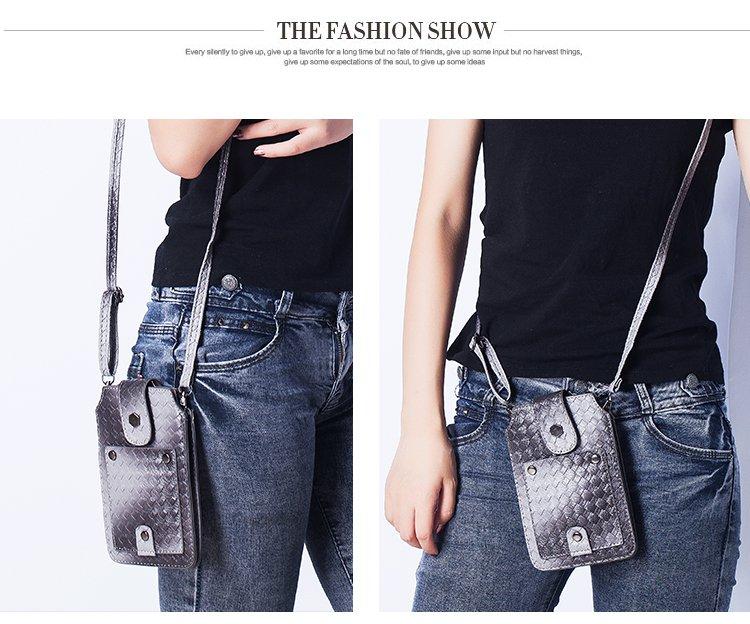 Women's PU Woven Texture Shoulder Bag Crossbody Bag Messenger Bag For iPhone 7/6/6s Plus SE Samsung