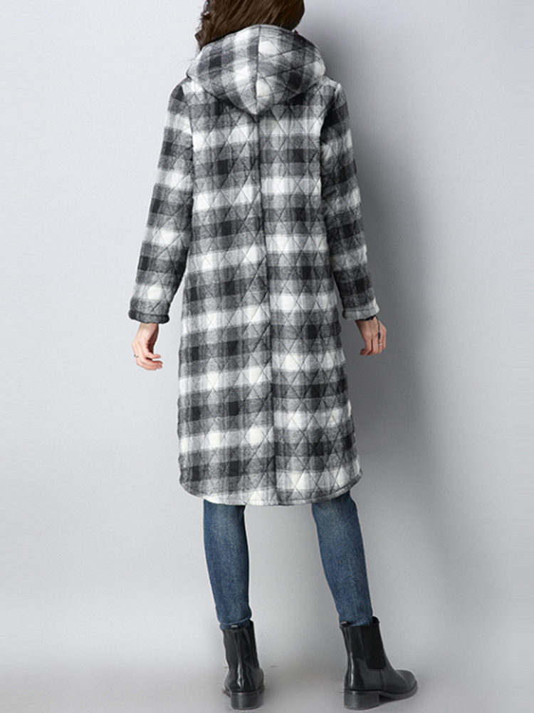 Women Plaid Pockets Button Thicken Hooded Long Sleeve Coats