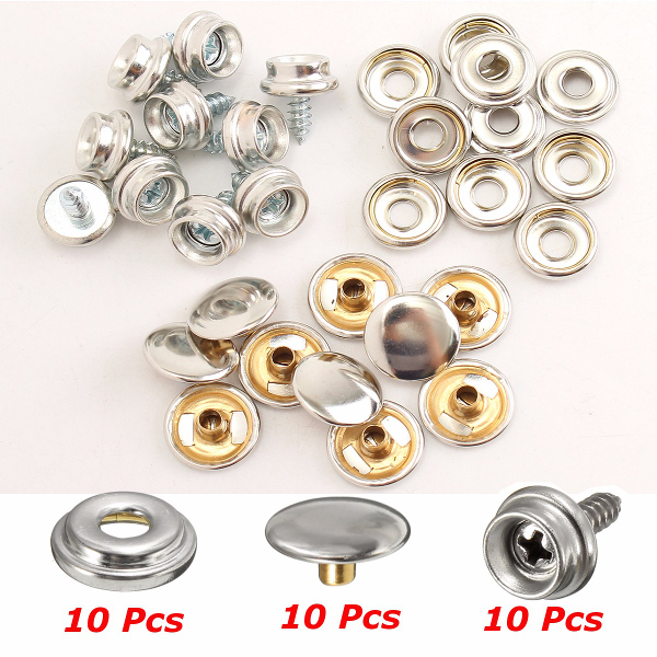 Buy 10Set Stainless Steel 3/8 Inch Boat Cover Canopy Fittings Fastener Snap Kit with Tools
