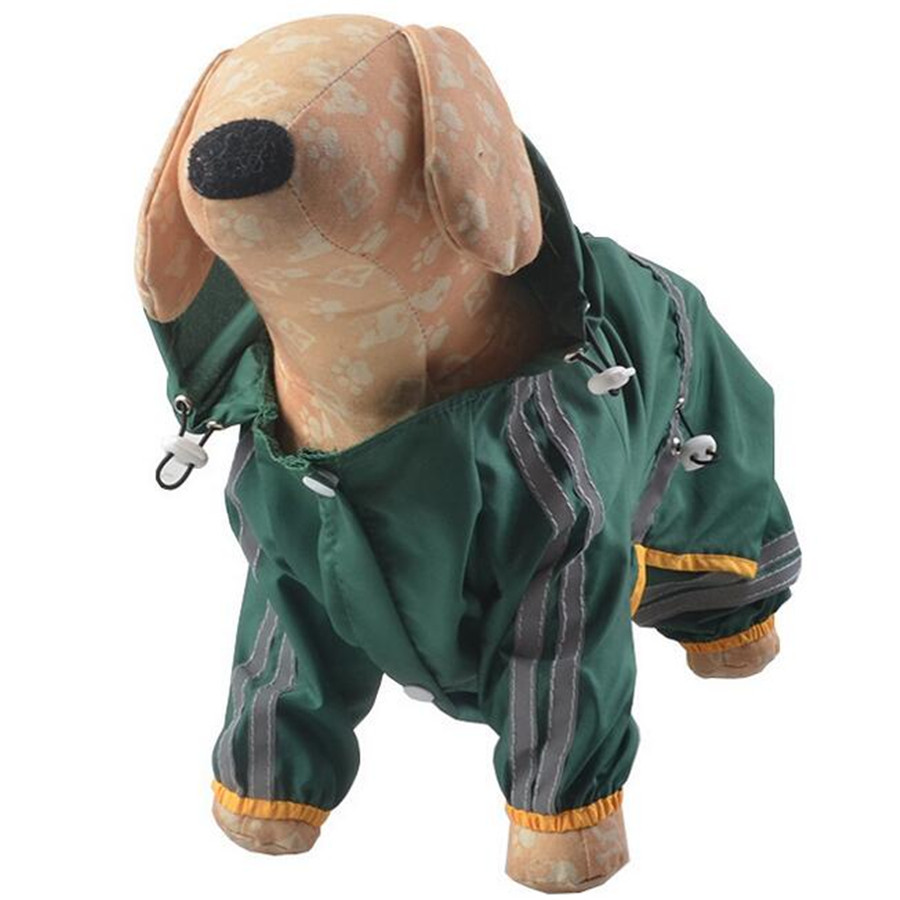 Dog Adjustable Raincoat Rainwear Double Reflective Striped Pet Rainsuit Waterproof Hoodie Jacket Clothes Jumpsuit For Small Dogs