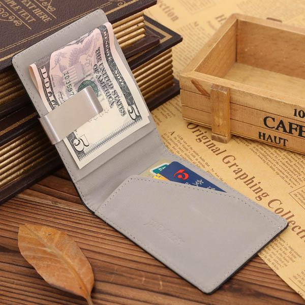 Creative Money Clip Men PU Purse Slight Colorful Wallet
