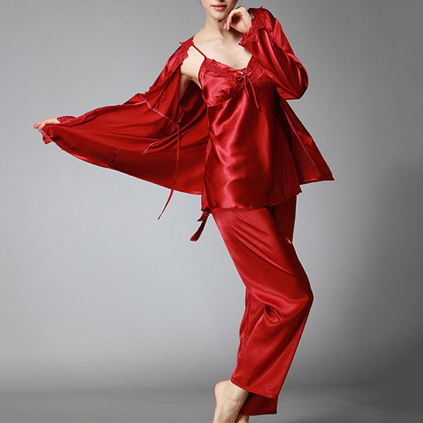 Silk Sling Pajamas Long Sleeve Trousers Three-piece Suit