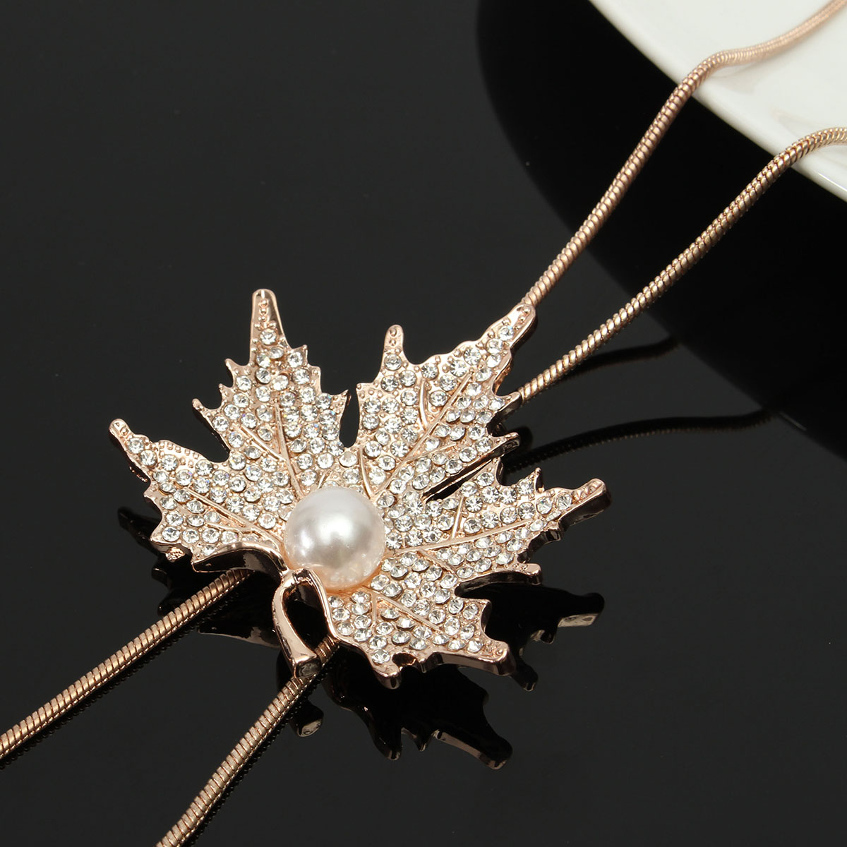 Crystal Maple Leaf Long Beaded Artificial Pearl Chain Tassel Sweater Necklaces