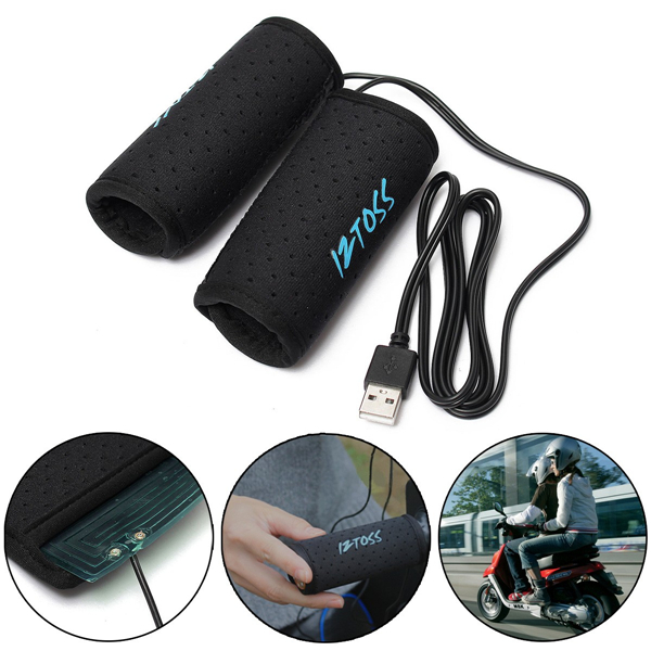 5V 2A 7.5W USB Electric Heated Handlebar Grips Warm Motorcycle Scooter