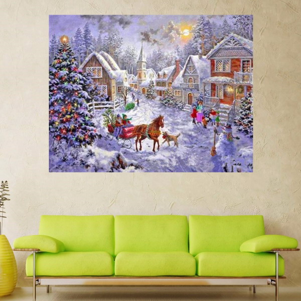 Winter Christmas Snow Carriage 5D Diamond Embroidery Kit DIY Painting Home Decoration